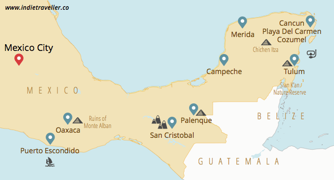 Mexico Yucatán and Oaxaca travel map