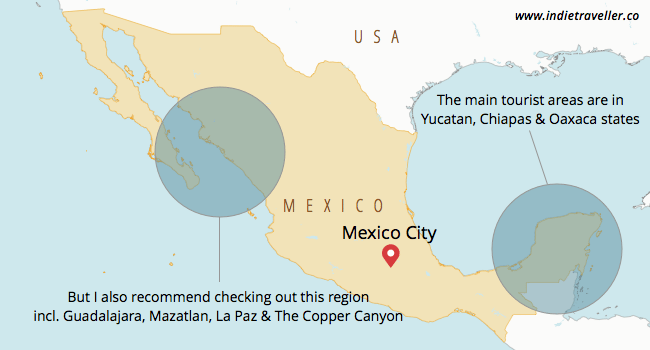 Mexico backpacking regions
