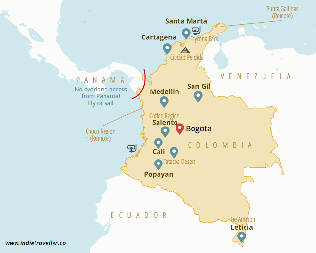 Colombia travel guide with map of top places to visit