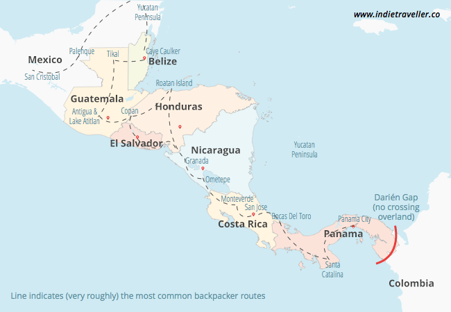 central america backpacking routes
