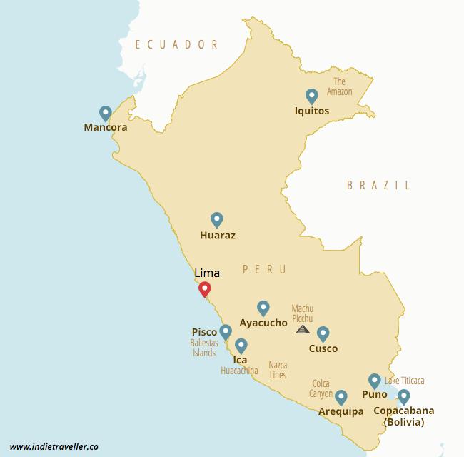 Peru backpacking map