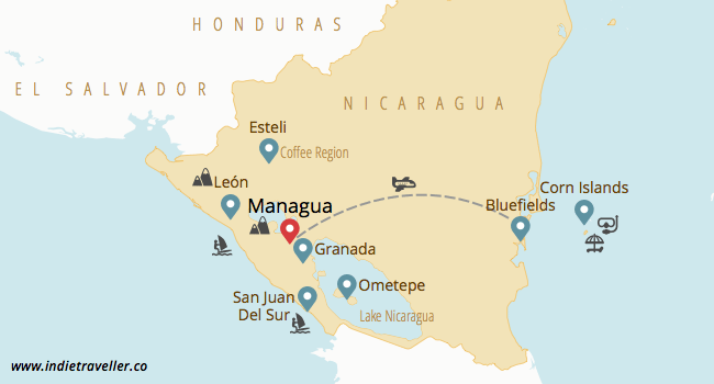 Nicaragua travel map by travel blog Indie Traveller