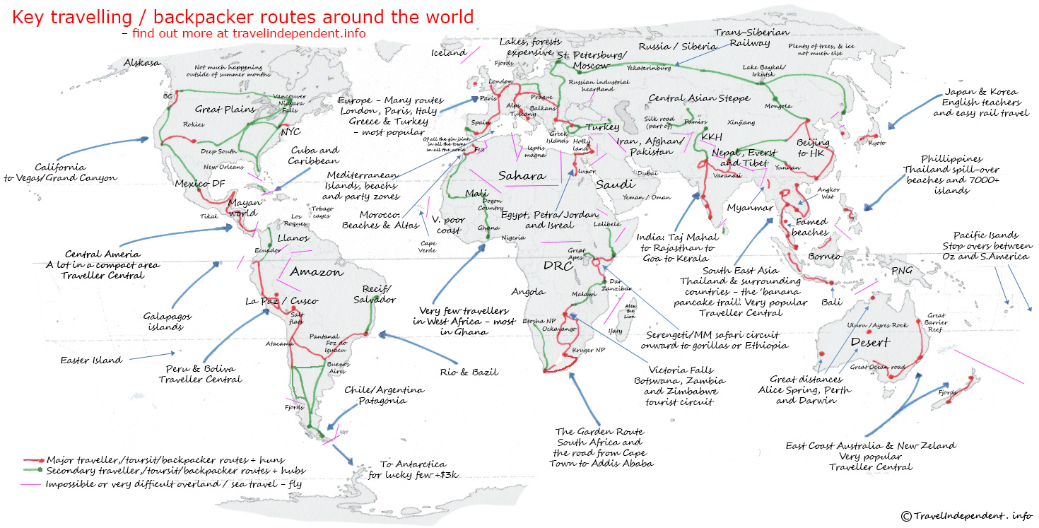Where To Go Backpacking A Map Of Every Major Route Indie Traveller – World Map Travel Planner
