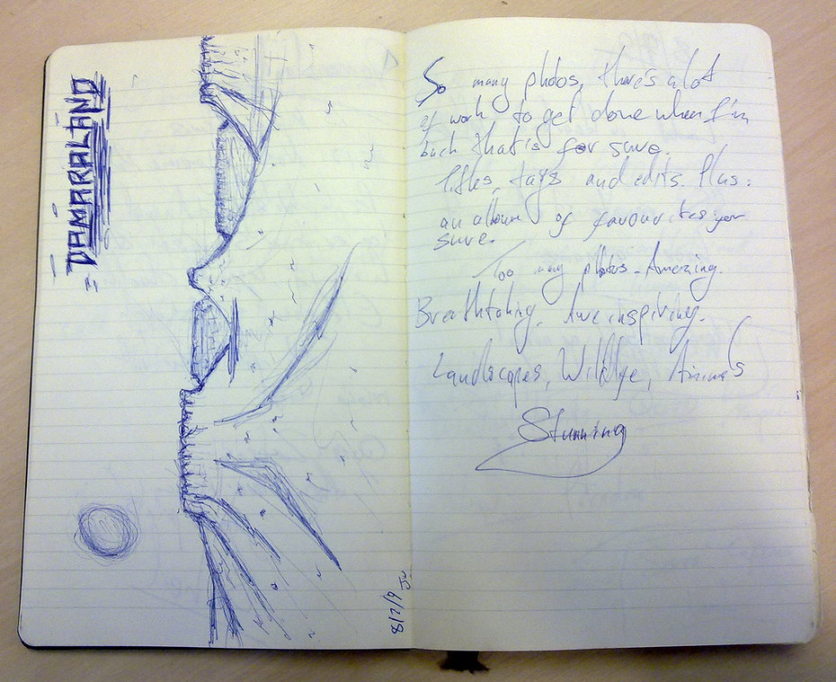 Example of a Moleskine travel journal