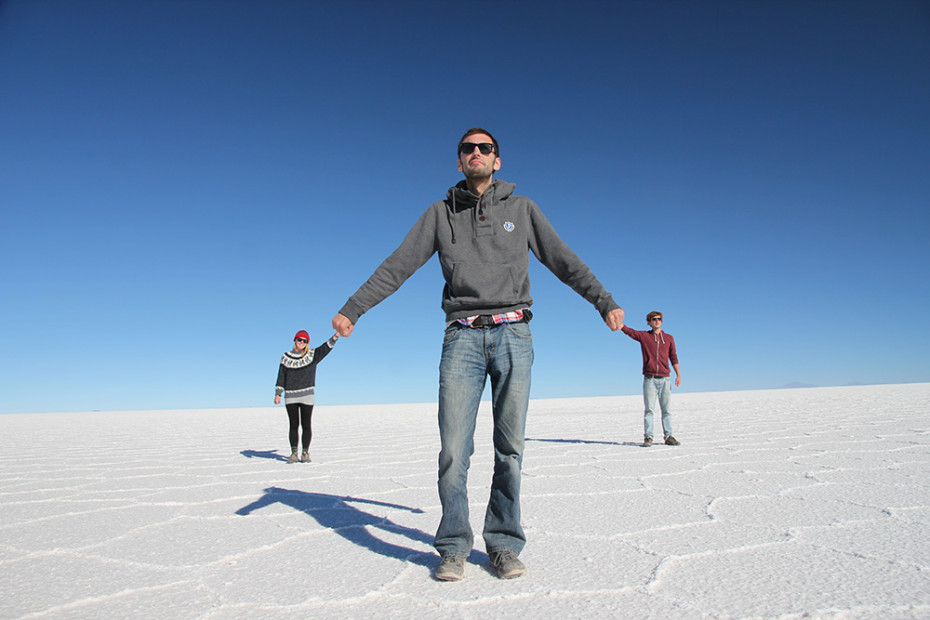Perspective shot taken at the salt flats in Bolivia