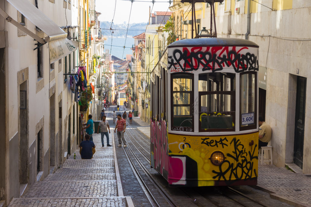 Lisbon city guide says riding the funiculars (pictured) is better than taking the Tram 28