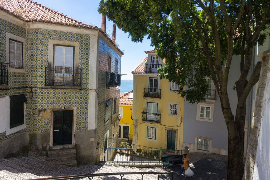 A typical street scene in Alfama neighborhood
