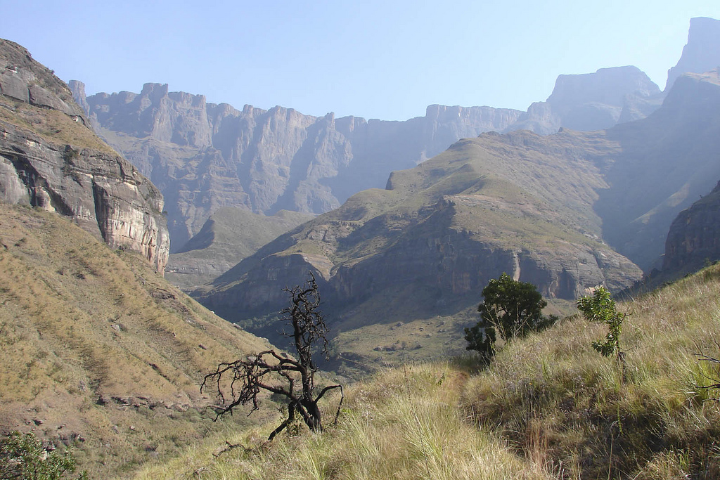 A view of the cathedral peaks of the Drakensberg mountains