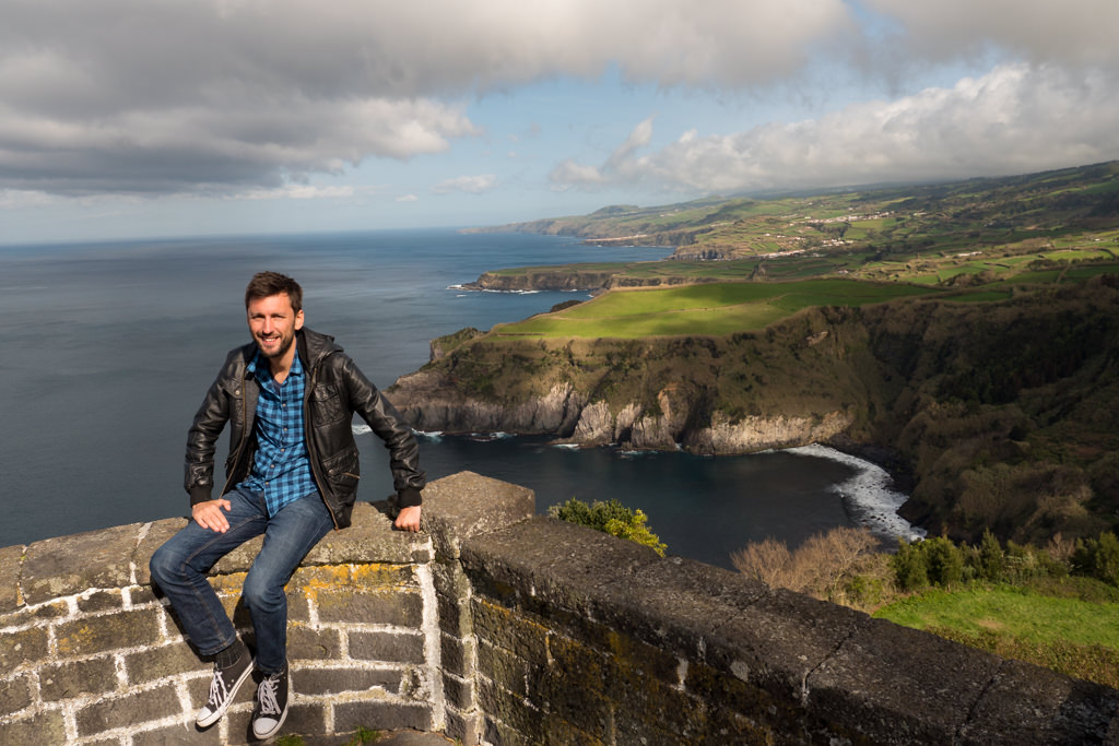 Me at a miradouro on Sao Miguel Island during my Azores travel blog trip