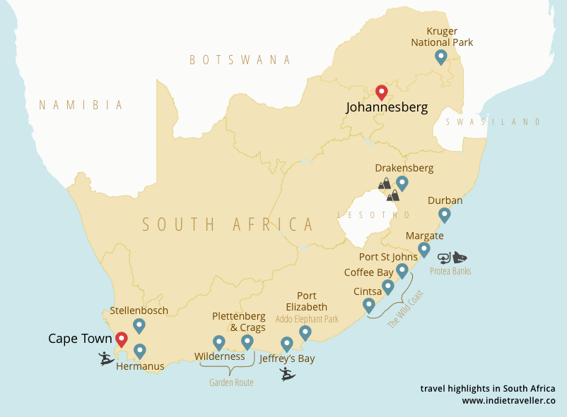 Map showing the most popular South Africa backpacking route, going along the coast from Cape Town to Johannesberg.