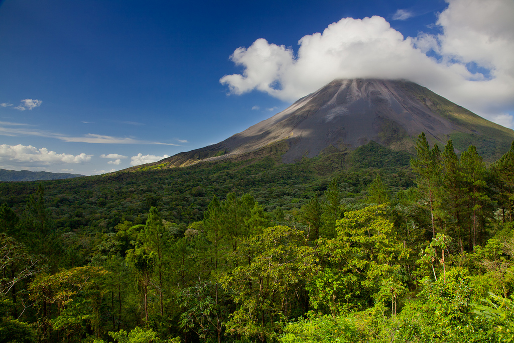 Volcano in the jungle in Costa Rica