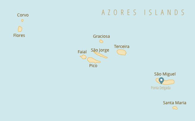 Map of the Azores islands showing each of the different islands, with Sao Miguel and Ponta Delgada as a key point of reference