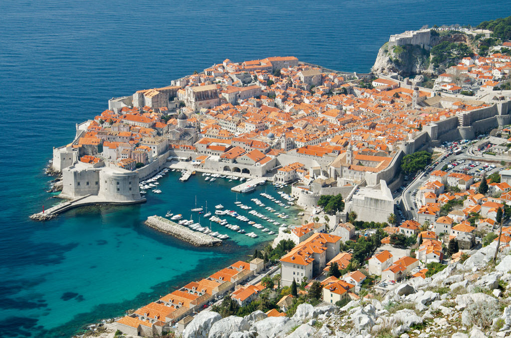 The Old Town of Dubrovnik in Croatia, seen looking down from a mountain top