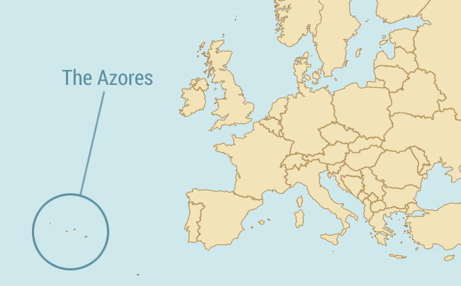 Map showing where the Azores is in relation to the rest of Europe