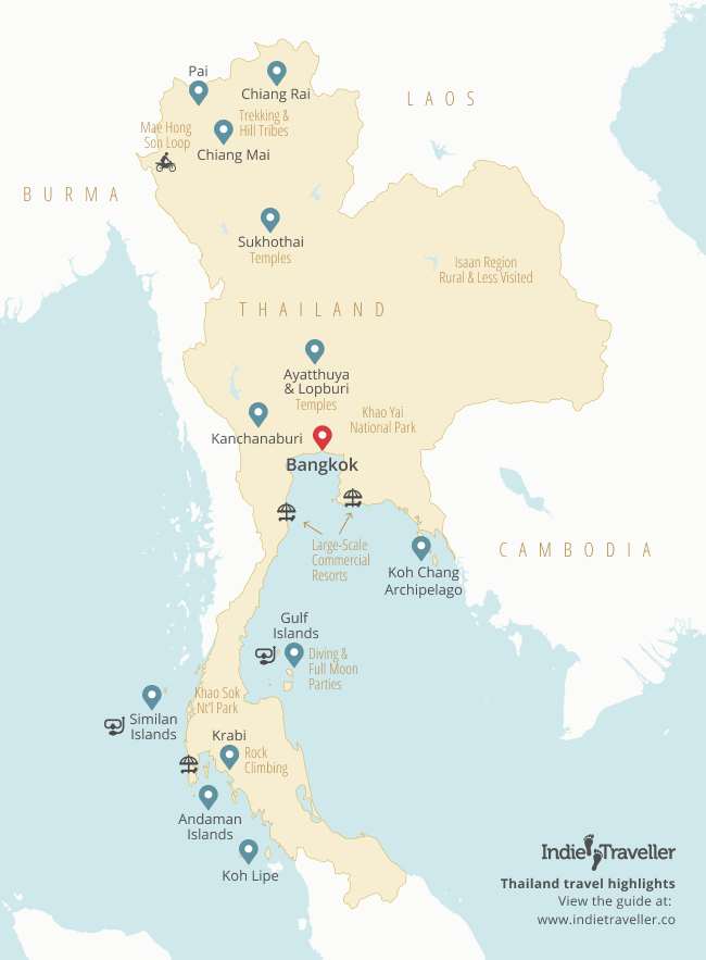 Map of Thailand with some of the top places to visit