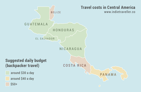 map of Central America showing daily budgets and travel costs