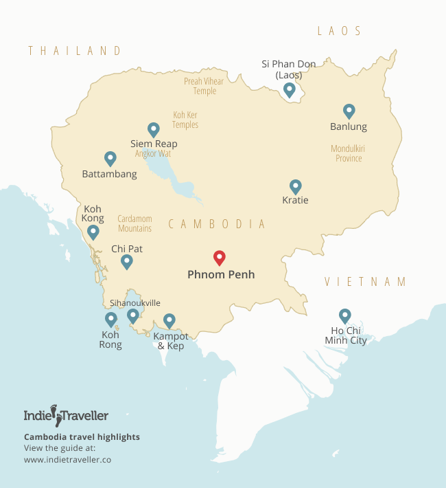 Map of travel highlights in Cambodia