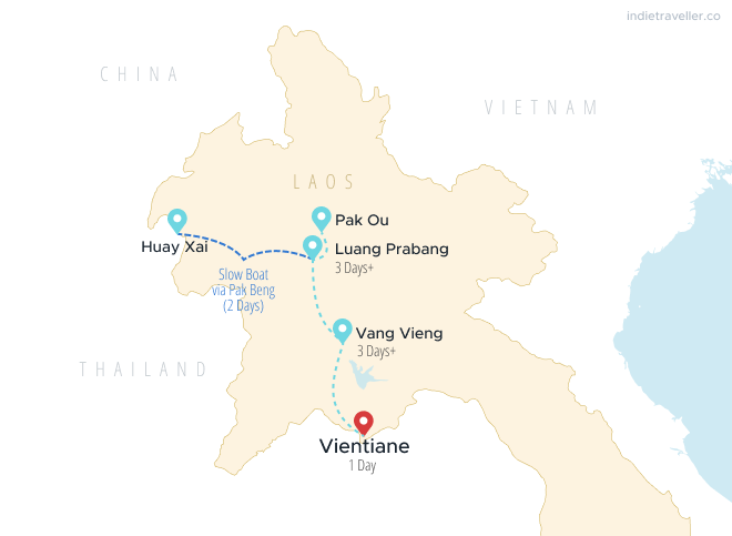 Map of northern Laos showing a 1 week itinerary, stopping in Huay Xai, Luang Prabang, Vang Vieng and Vientiane