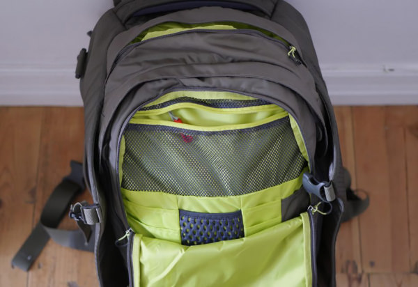 Organizer sleeves of the Osprey Porter 46 travel backpack