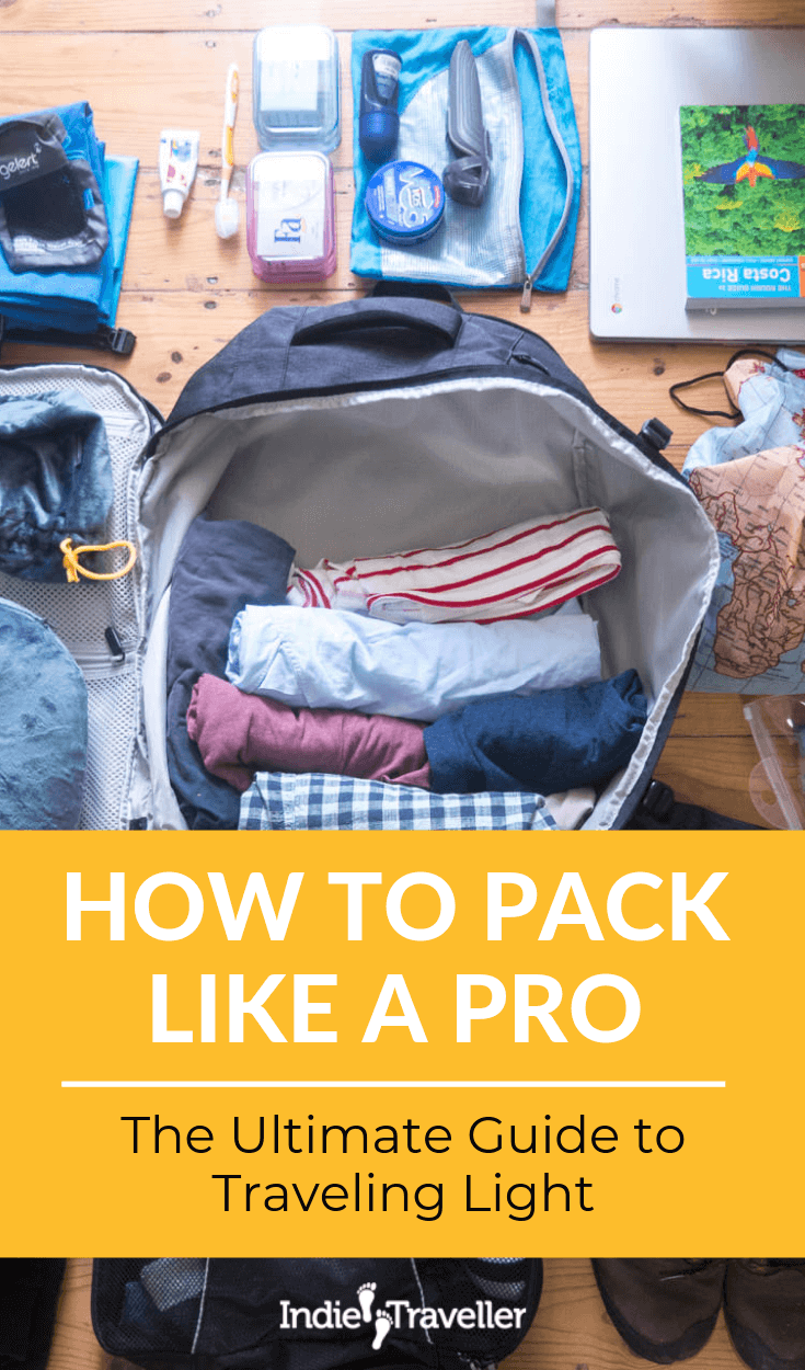 Tips for Packing Light: Avoid travelling like a mule! Learn how to pack light and smart for a backpacking trip or holiday using carry-on luggage only. Includes full packing list. #PackingGuide #PackLight #TravelGear #Travel #TravelTips #SoloTravel #IndieTravel #IndieTraveller