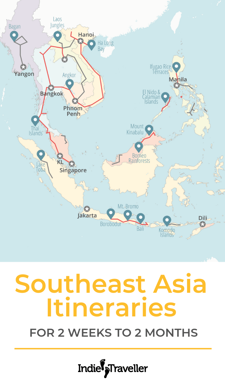 Southeast Asia Itinerary: Advice for planning a trip to Southeast Asia (such as Thailand, Vietnam, Cambodia, Indonesia, etc.) for 2 weeks, 4 weeks, 2 months, or more. #SoutheastAsia #SoutheastAsiaTravel #BackpackSoutheastAsia #Travel #TravelTips #SoloTravel #IndieTravel #IndieTraveller