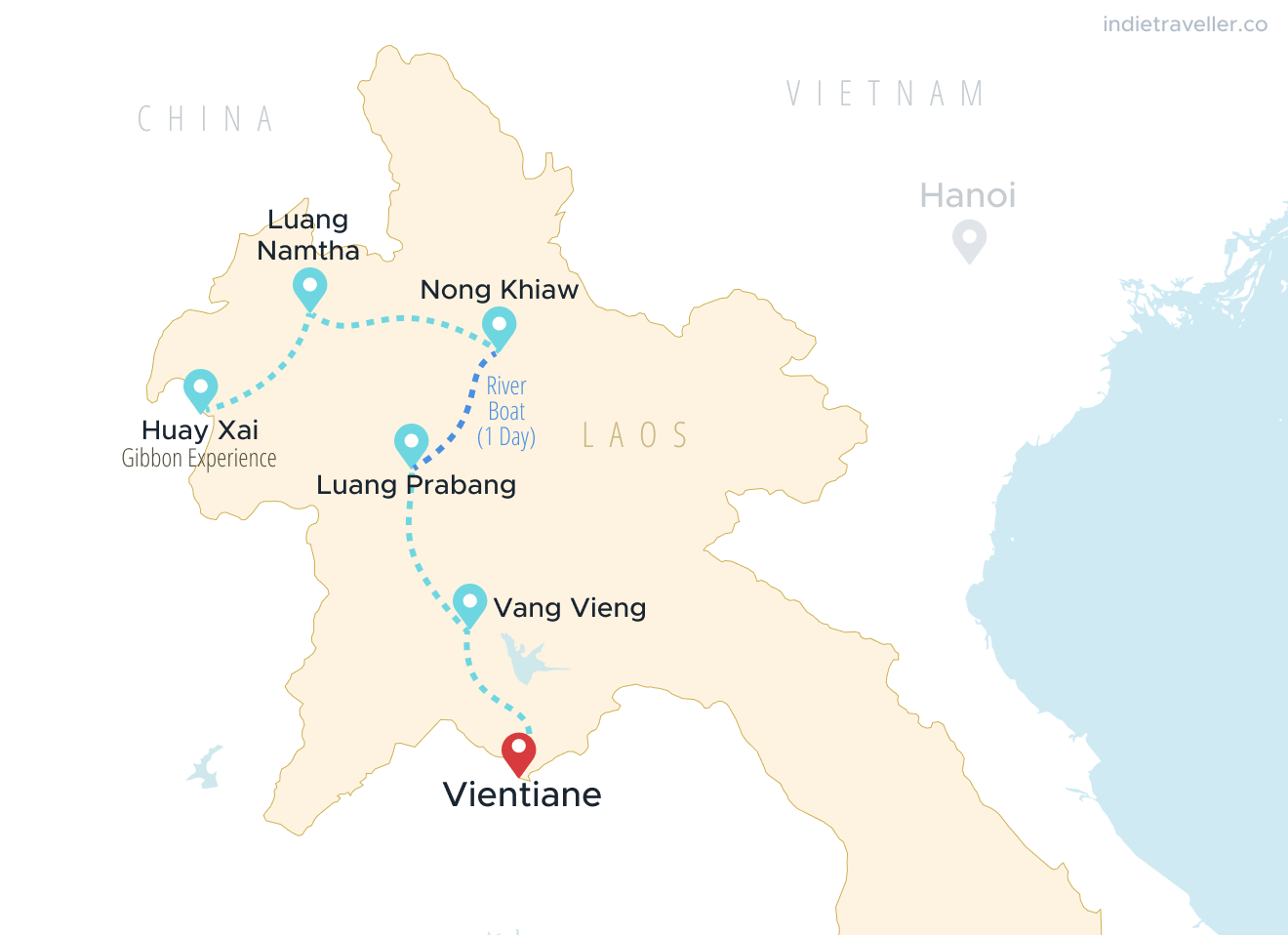 Map of northern Laos showing a 2 week itinerary, stopping in Huay Xai, Luang Namtja, Nong Khiaw, Luang Prabang, Vang Vieng and Vientiane