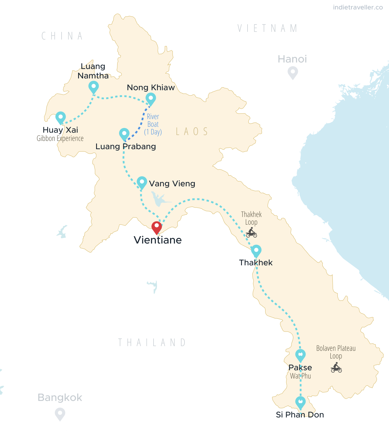 Map of Laos showing a 3 week itinerary, with a route starting in Huay Xai in the north and ending in Si Phan Don in the sotuh.