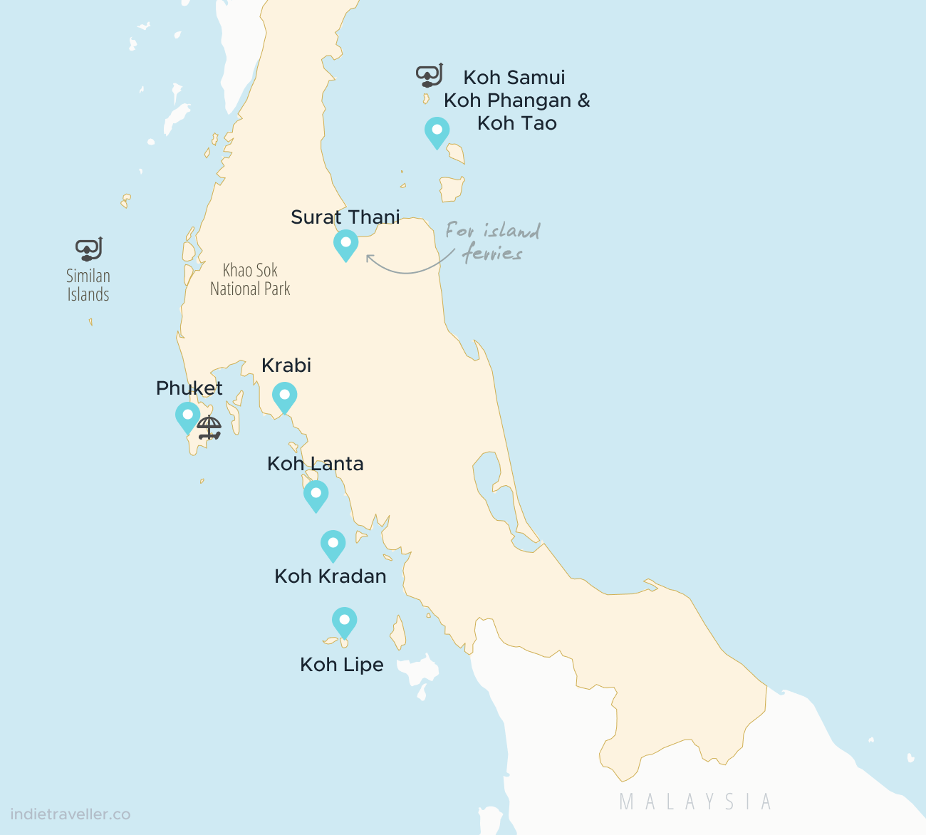 Map of the best places to travel in Southern Thailand